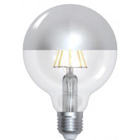 """GLOBE """"SILVER CAP"""" Diam95 LED Calotte argentée 8W 2700K E27 950lm"""