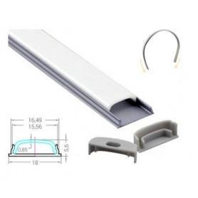Profilé Aluminium Flexible 18-5,6mm diffuseur Dépoli avec accessoires --- 1m/2m