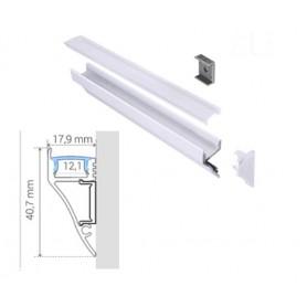 Profilé corniche Aluminium BLANC 40,7-17,9mm diffuseur Transparent avec accessoires --- 1m/2m