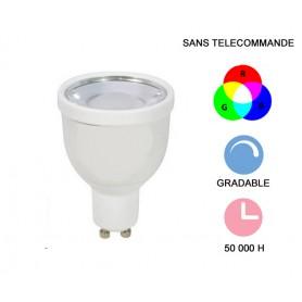 "Lampe LED ""RGB"" 4W RGB+3000K GU10 200-220lm"