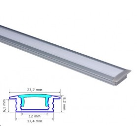 Profilé encastré Aluminium 17-8mm diffuseur Dépoli avec accessoires --- 1m/2m