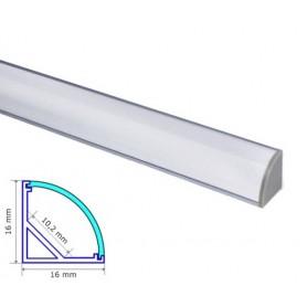 Profilé d'angle Aluminium 16-16mm diffuseur Dépoli avec accessoires --- 1m/2m