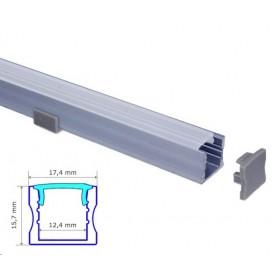 Profilé Aluminium 17-15mm diffuseur Dépoli avec accessoires --- 1m/2m