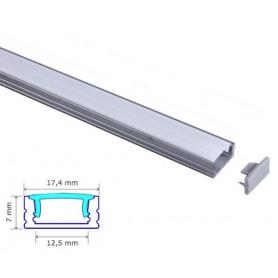 Profilé Aluminium 17-7mm diffuseur Dépoli avec accessoires --- 1m/2m