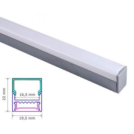 Profilé sailli Aluminium 22-19,5mm diffuseur Dépoli avec accessoires --- 1m/2m