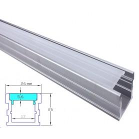 Profilé de sol renforcé Aluminium 26-26mm diffuseur Dépoli avec accessoires --- 1m/2m