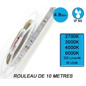 """Rouleau 10M """"FLEXI IP67"""" 4,8W/M IRC80 --- ( 4 déclinaisons)"""