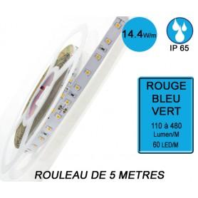 "Rouleau 5M ""FLEXI IP65"" 14,4W/M IRC80 --- Rouge / Vert / Bleu"