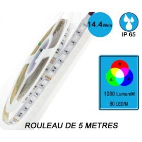 "Rouleau 5M ""FLEXI RGB IP65"" 14,4W/M IRC80"