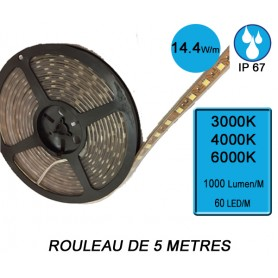"Rouleau 5M ""FLEXIBLE IP67"" 14,4W/M IRC80 --- (3 déclinaisons)"