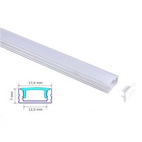 Profilé Blanc 17-7mm diffuseur Dépoli avec accessoires --- 1m/2m