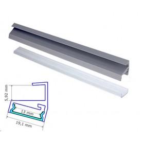 Profilé Aluminium pour tablette verre 6mm diffuseur Transparent avec accessoires --- 1m
