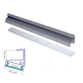 Profilé Aluminium pour tablette verre 8mm diffuseur Transparent avec accessoires --- 1m