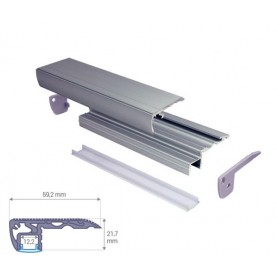 Profilé Aluminium pour pied de marche diffuseur Dépoli avec accessoires --- 1m/2m