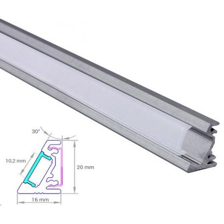 Profilé d'Angle Aluminium Asymétrique 16-20mm diffuseur Dépoli avec accessoires --- 1m/2m