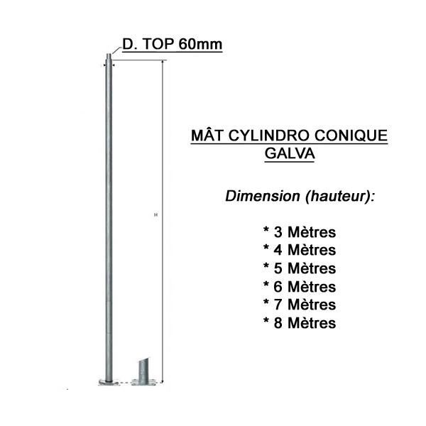 Poteau galvanisé 8 m