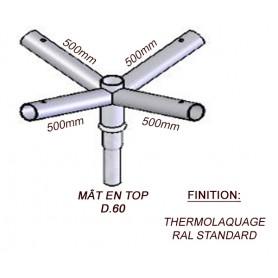 Crosse Fixation Quadruple en TOP pour MAT Acier Thermolaquage --- (19 couleurs)