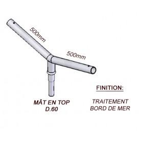 Crosse Fixation Double en TOP pour MAT Acier Thermolaquage Bord de Mer --- (19 couleurs)